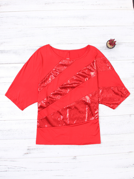 Red Paillette Decoration Scoop Neck Short Bat Sleeves T-shirt
