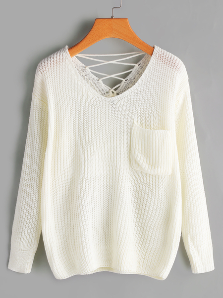 White Plain Lace-up Back V-neck Long Sleeves Knitting Jumpers