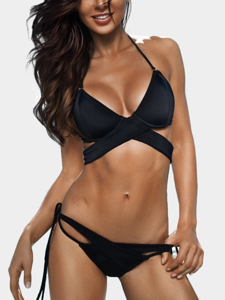 Black Cross Over Halter Tie-up Bikini Set
