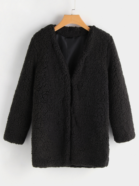 Fashion Black Long Sleeves Faux Fur Coat