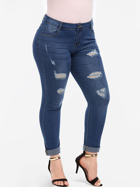 Plus Size Blue Random Ripped Details Skinny Jeans