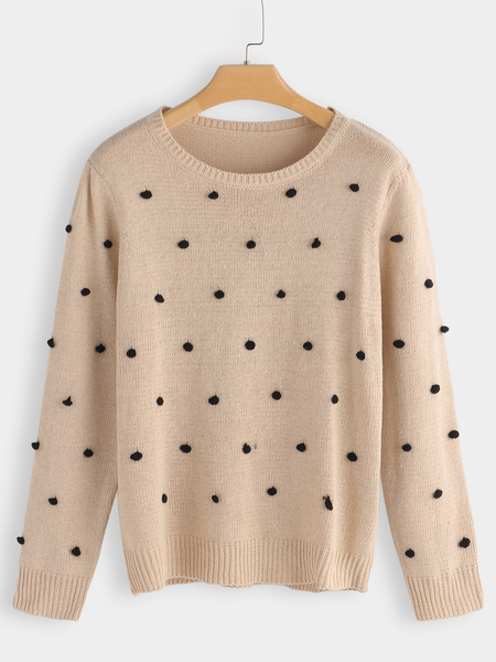 Beige Polka Dot Design Crew Neck Long Sleeves Sweaters