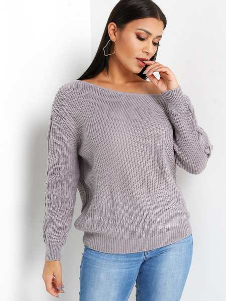 Grey Lace-up Design One Shoulder Long Sleeves Knitted Sweater