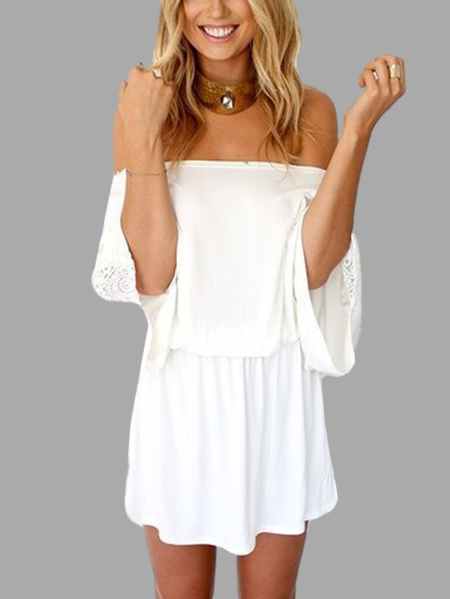 Off The Shoulder Stretch Waistband Mini Dress with Crochet Lace Insert