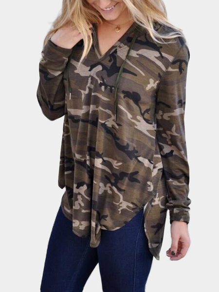 Camouflage V-neck Long Sleeves Hooded T-shirt