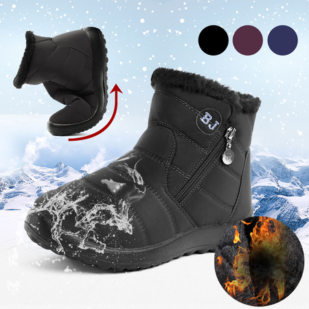 Black Warm Fur Lining Waterproof Antiskid Boots