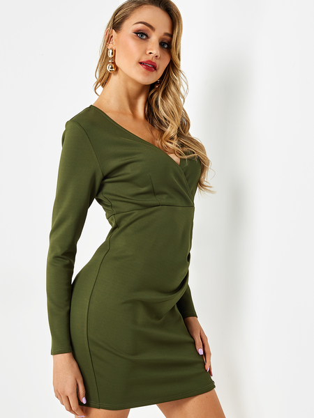 Army Green V Neck Pleated Zip Sexy Dress