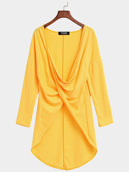 Yellow V-neck Cross Front Top with Step Hem
