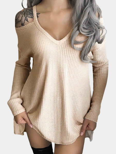 Beige Cold Shoulder V-neck Long Sleeve Knit Top
