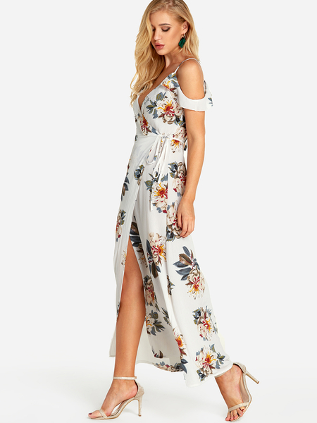 White Self Tie Design Random Floral Print Cold Shoulder Slit Hem Dress