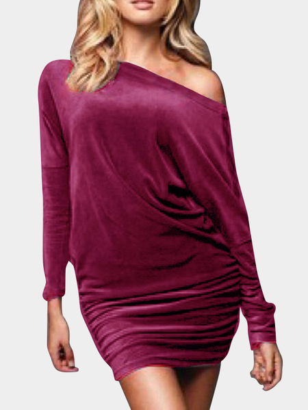 Burgundy Gold Velvet One Shoulder Long Sleeves Mini Dresses