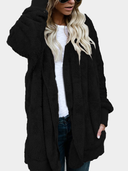 Black Hooded Lapel Collar Long Sleeves Sweaters Coat