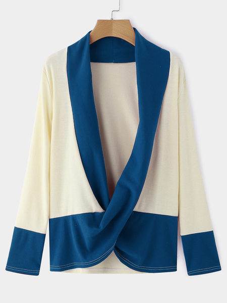 Blue Crossed Front Design Pleated Details Deep V Neck Long Sleeves Tee