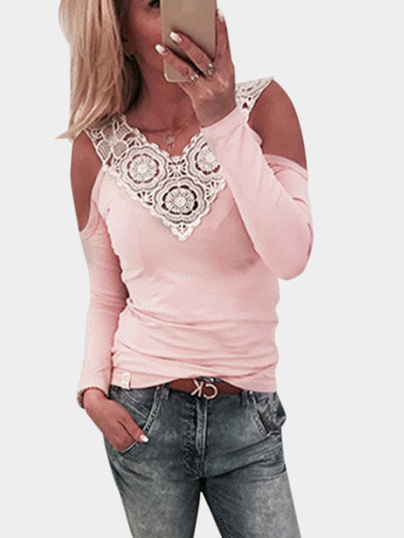 Pink Hollow Design Cold Shoulder Long Sleeves Tee