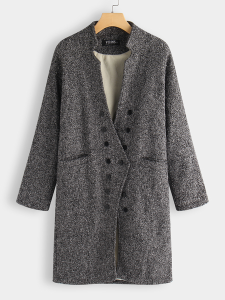 Grey Collarless Longline Coat with Side Pockets
