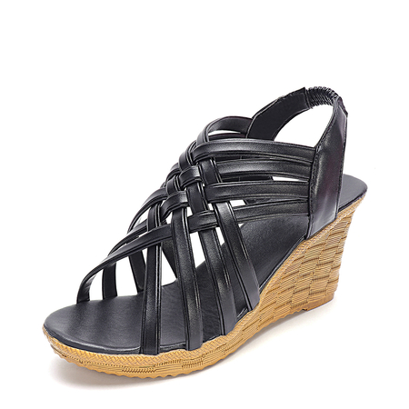 Black Criss Cross Design Wedge Sandals