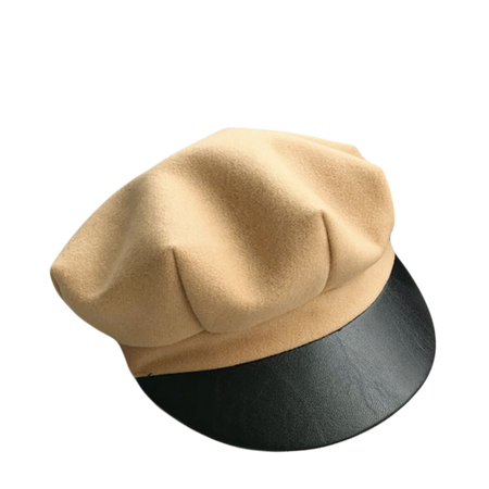 Camel Tweed Bright Leather Cap Beret Newsboy Hat