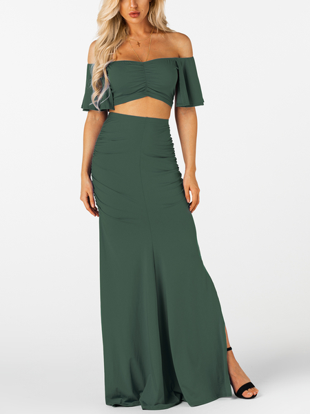 Army Green Ruched Bodycon Sexy Two Piece Outfits