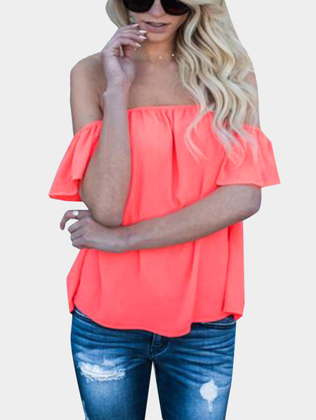 Orange Sexy Off Shoulder Flared Sleeves Loose Fit Blouses