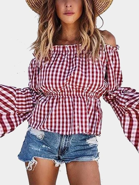 Red Grid Pattern Off The Shoulder Long Sleeves Top