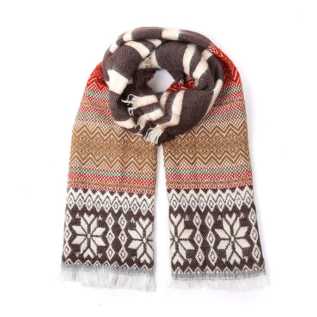 Coffee Stripe Snowflake Pattern Warp Scarf with Tassel Detail
