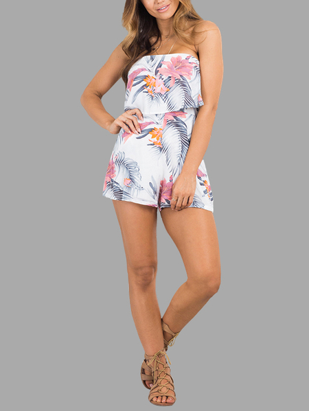 Random Floral Print Tube Playsuit with Layered Details