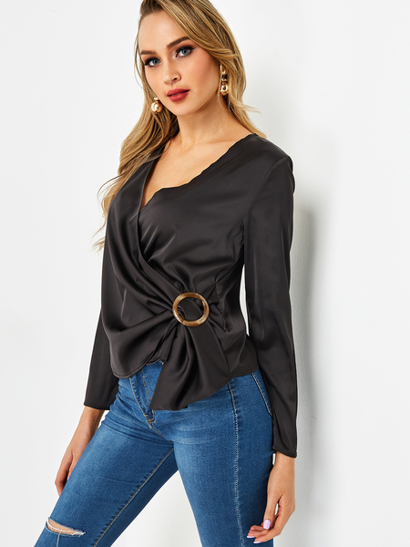 Black Crossed Collar Deep V Neck Long Sleeves Blouse With Circular Buckle