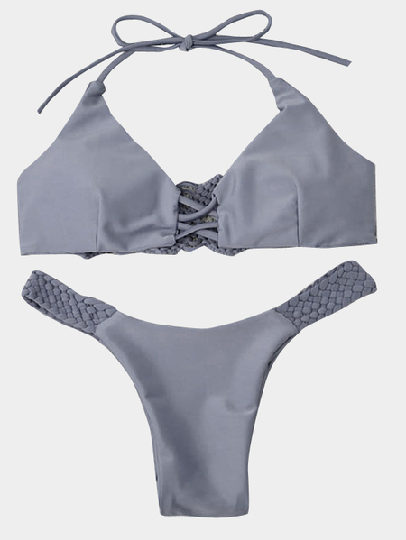 Grey Braided Design Halter-neck Bikini Set