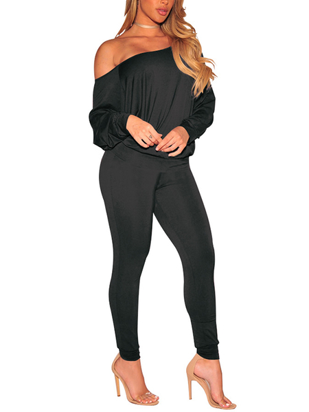 Black Sexy Off-The-Shoulder Basic Two Piece Outfits