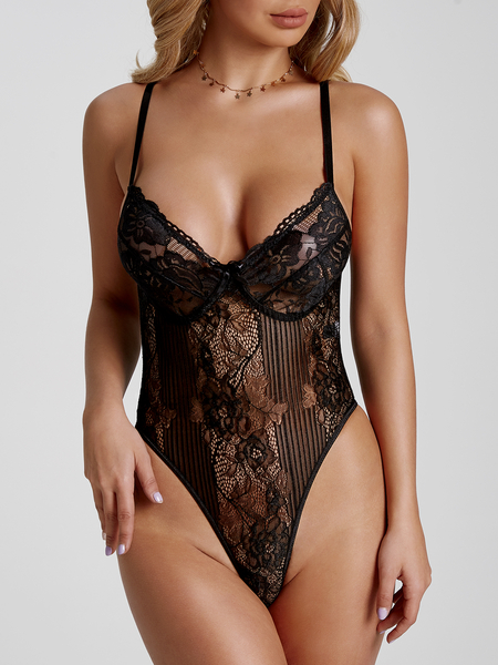 Black Spaghetti Lace See Through Teddy Bodysuit
