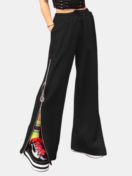 Active Zip Design Wide Leg Pants in Black