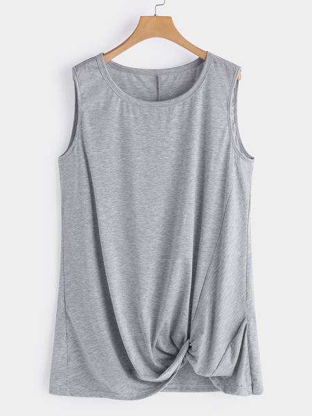 Plus Size Grey Tank With Front Twist Detail