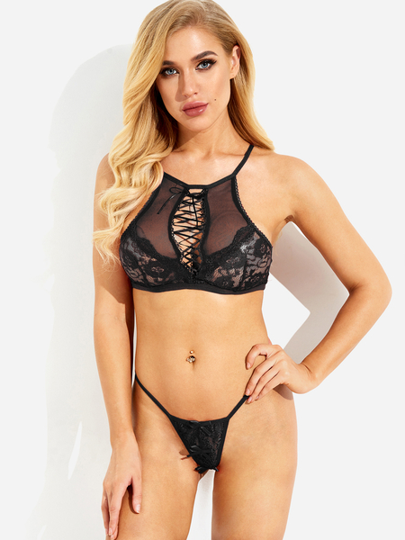 Black Lace-up Design Bowknot Cut-out Lace Lingerie Set