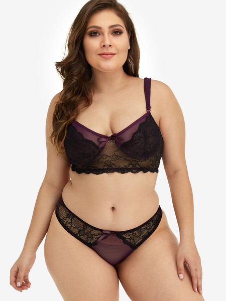 Plus Size Color Block Lace Detail Lingerie Set