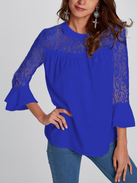 Casual Lace Insert Stitching Chiffon Top in Blue