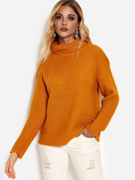 Yellow Plain Roll Neck Long Sleeves Loose Fit Sweaters