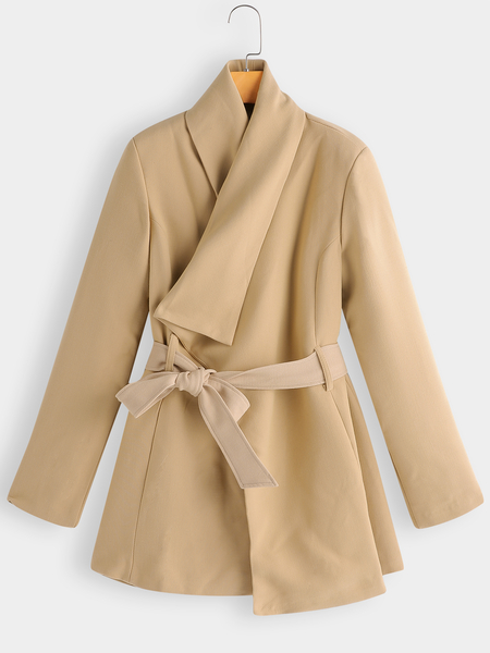 Khaki Belt Design Lapel Collar Long Sleeves Trench Coat