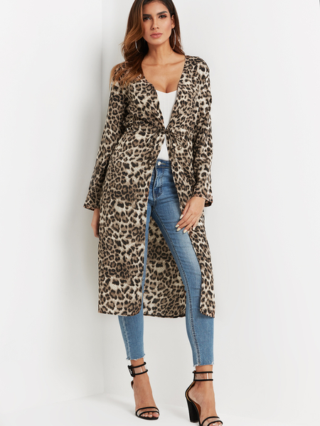 Leopard Self-tie Design Long Sleeves Open Front Long Line Coat