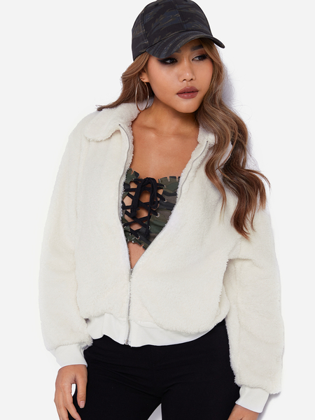 White Zip Front Closure Lapel Collar Long Sleeves Woolen Coat With Slip Pockets