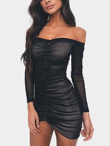 Black Net Yarn Pleated Off Shoulder Bodycon Mini Dresses