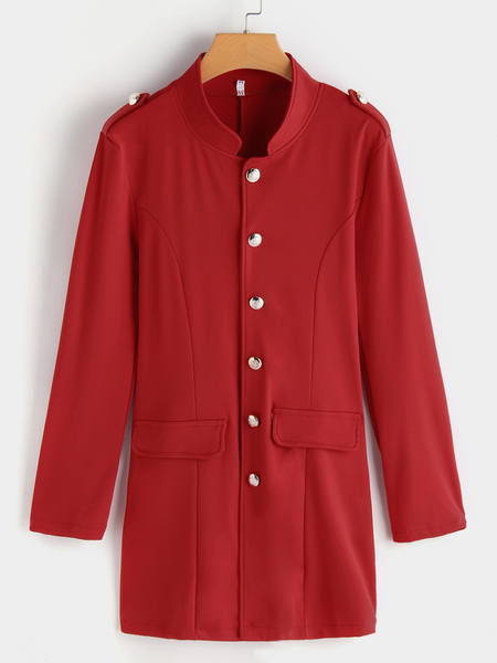 Red Single Breasted Design Stand Collar Coat With Patch Pockets