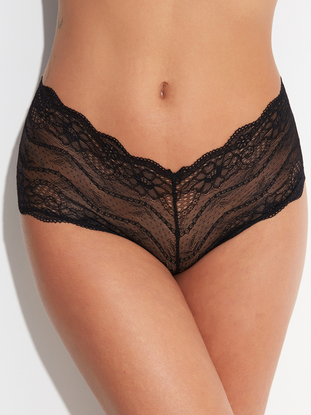 Black Lace-up Design Semi Sheer Lace Pantie