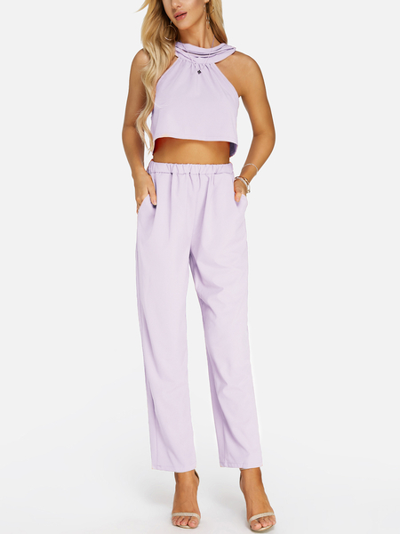 Light Purple Sleeveless High Waist Halter Co-ord