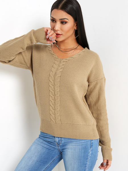 Khaki Lace-up Design Round Neck Long Sleeves Knitted Sweater