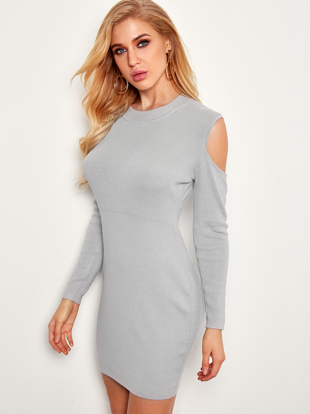 Grey Cut Out Round Neck Long Sleeves Knitwear Dress