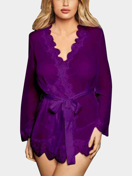Purple Lace Trim V-neck Long Sleeves Self-tie Waist Pajamas