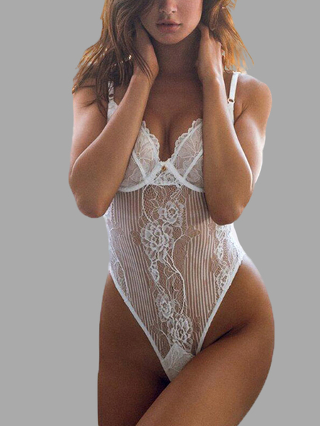 White Sexy V-neck Random Lace Hollow Teddy