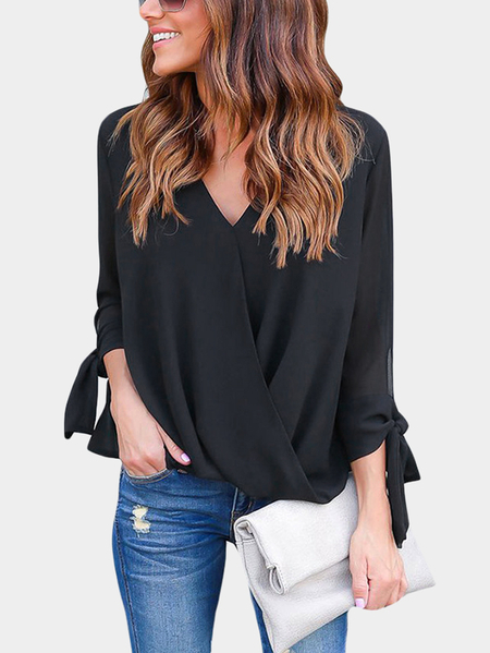 Black Crossed Front Design V-neck Lace Up Details Long Sleeves Blouse