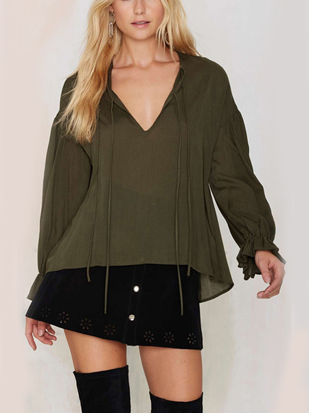 Flounce Blouse with Tie Front