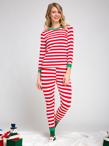 Red Stripe Patterm Women Christmas Pajama Sets